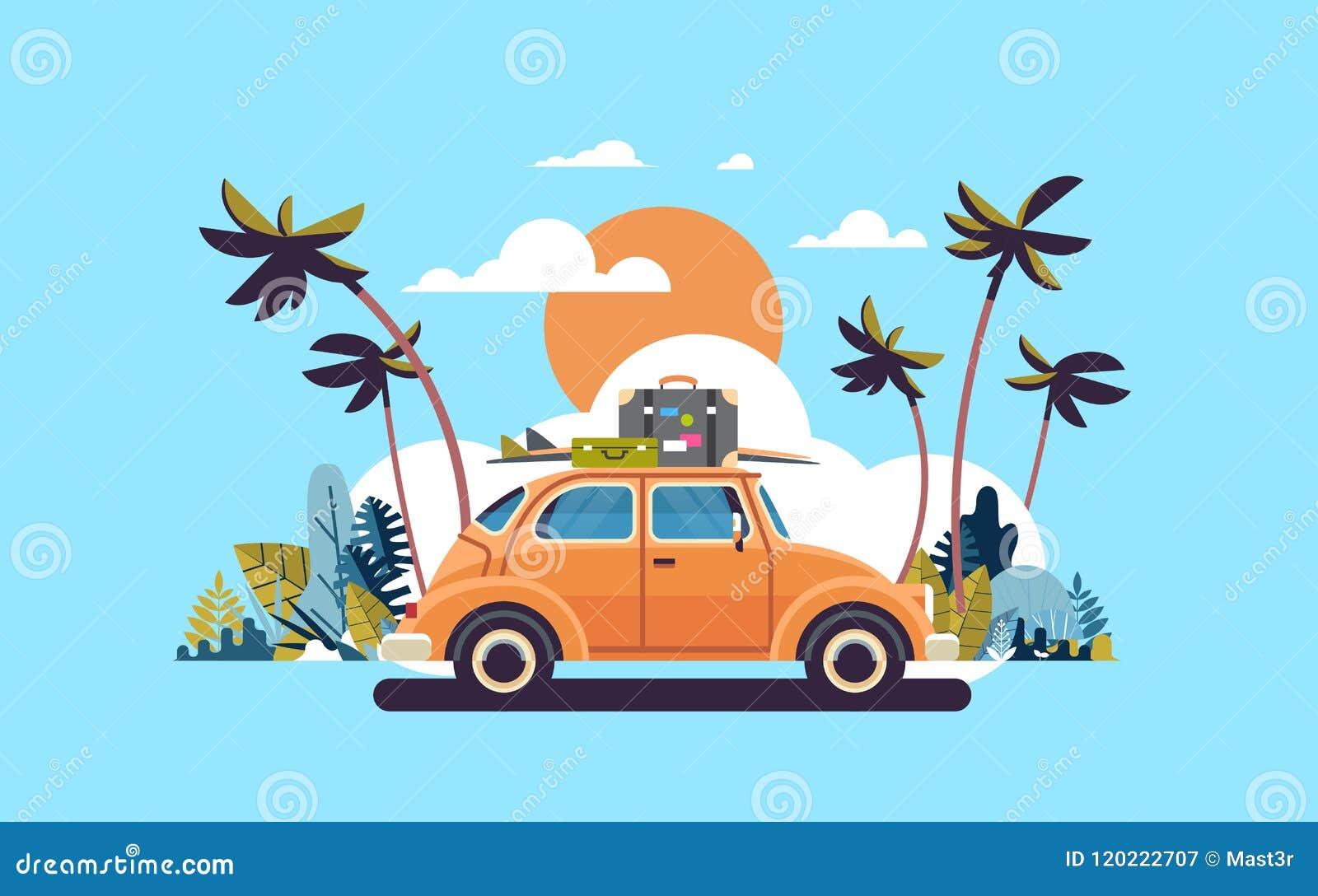 Retro bil med bagage på den tropiska solnedgångstranden för tak som surfar lägenheten för affisch för mall för tappninghälsningko