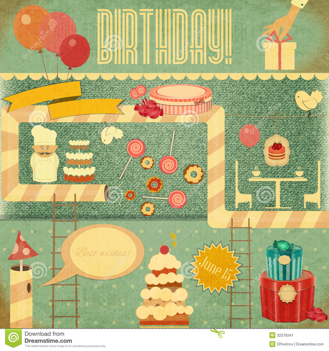 Retro birthday card stock vector illustration of greeting 32378341 retro birthday card bookmarktalkfo Gallery