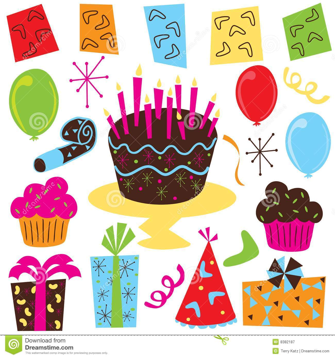 retro birthday party clip art stock vector illustration birthday party clipart 9-10 years old birthday party clip art free images