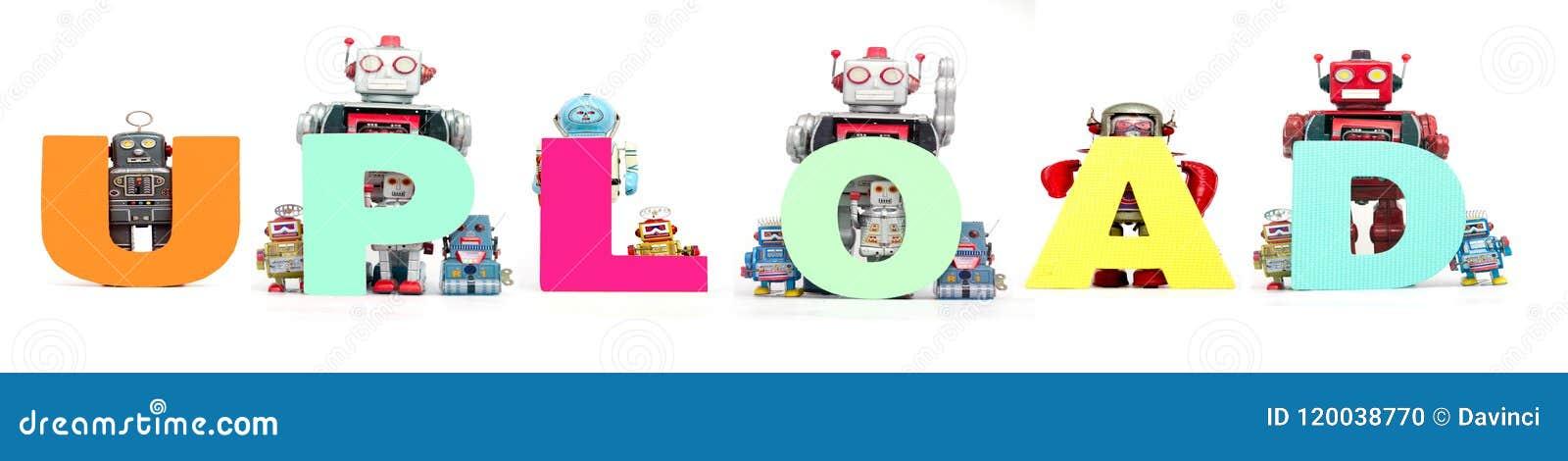 Retro blaszane robot zabawki podtrzymywali słowo odizolowywający o UPLOAD