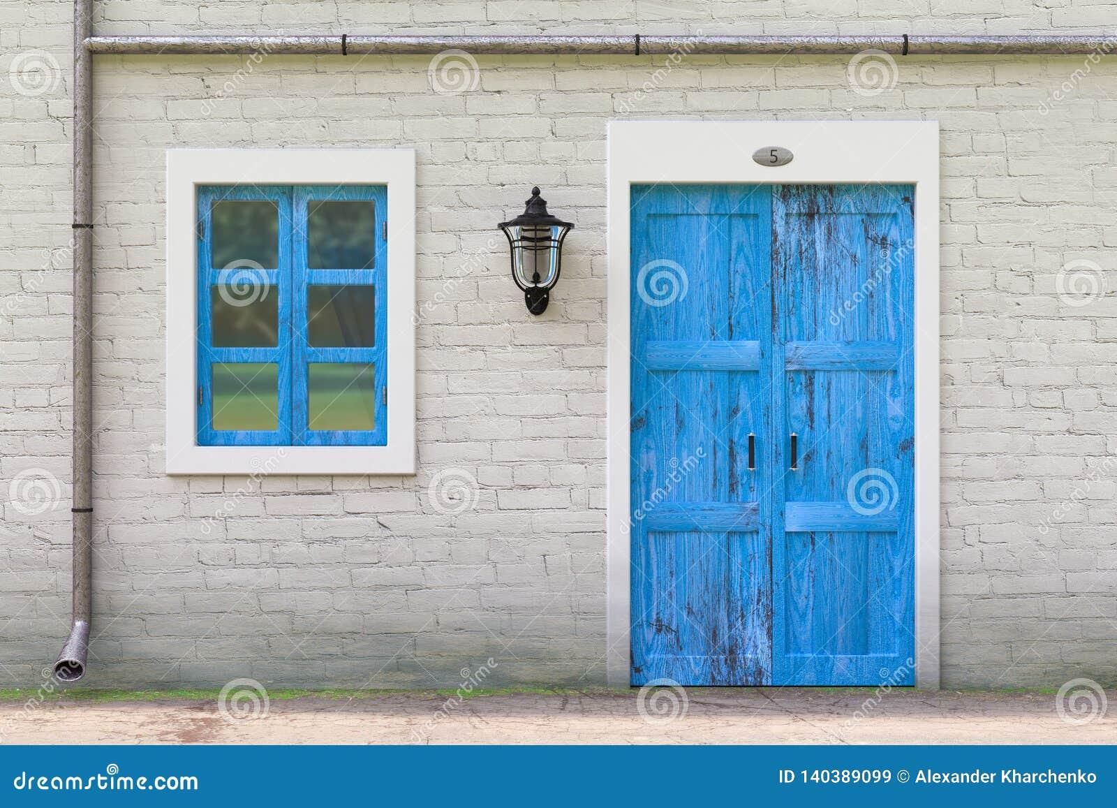 Retro- blaue Tür, Fenster, Gosse in der alter Schmutz-weißen Backsteinmauer mit Weinlese-Eisen-Laterne Wiedergabe 3d
