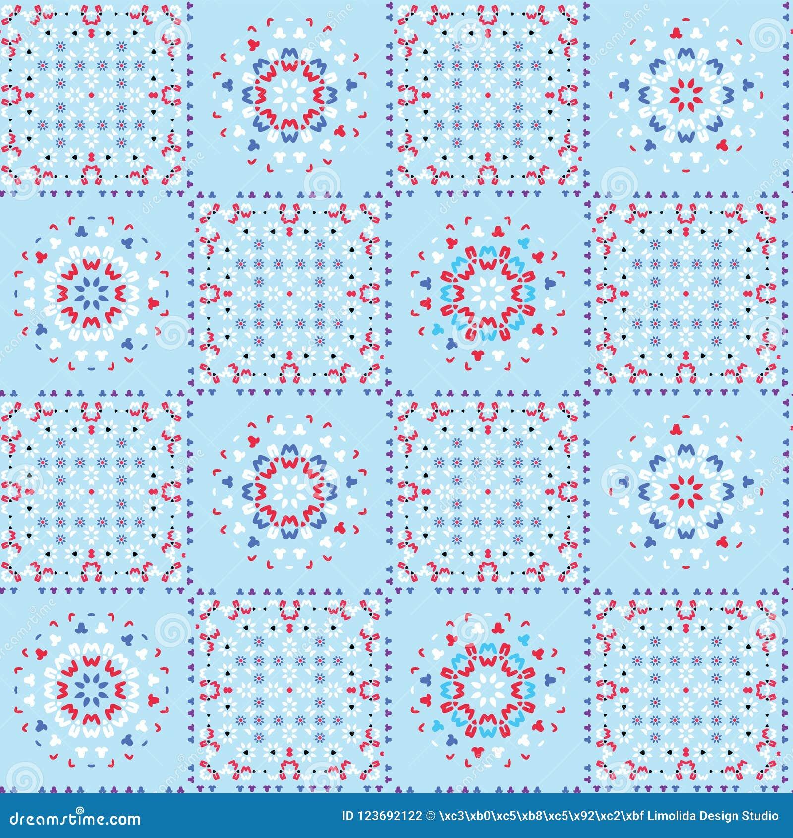 Retro Blauwe Patroon van de het Lapwerktegel van het Keukendekbed