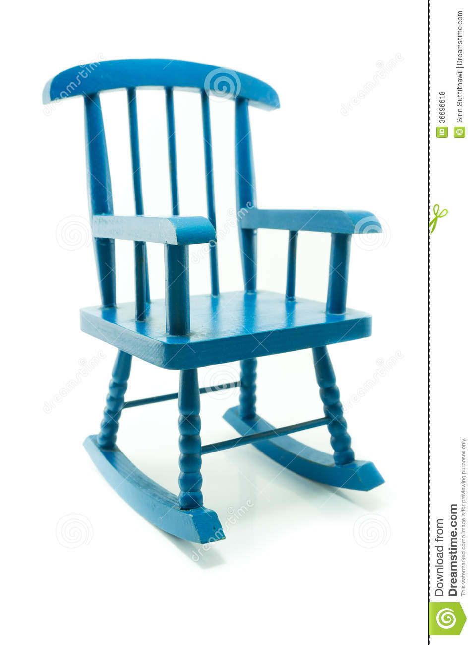 Retro Blue Rocking Chair In White Background Royalty Free Stock Photos ...