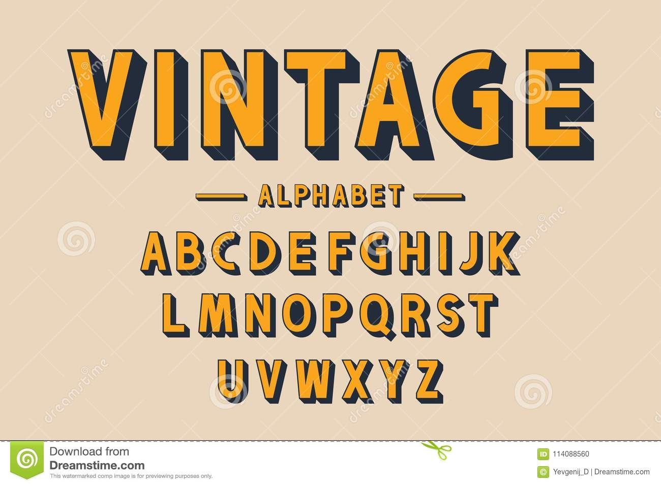 Retro Bold Font And Alphabet Strong Letters With Long Shadows In