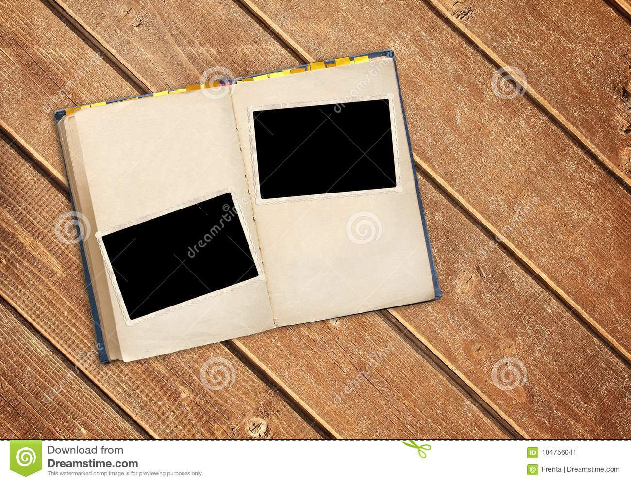 Retro Book And Photos On Old Wooden Planks Stock Image Image Of