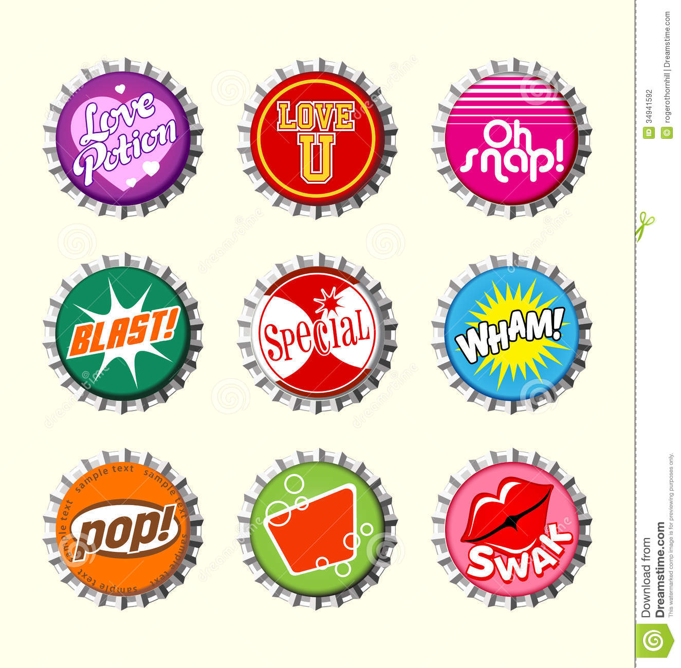 Retro bottle cap designs set 2 stock vector illustration for Cool bottle cap designs