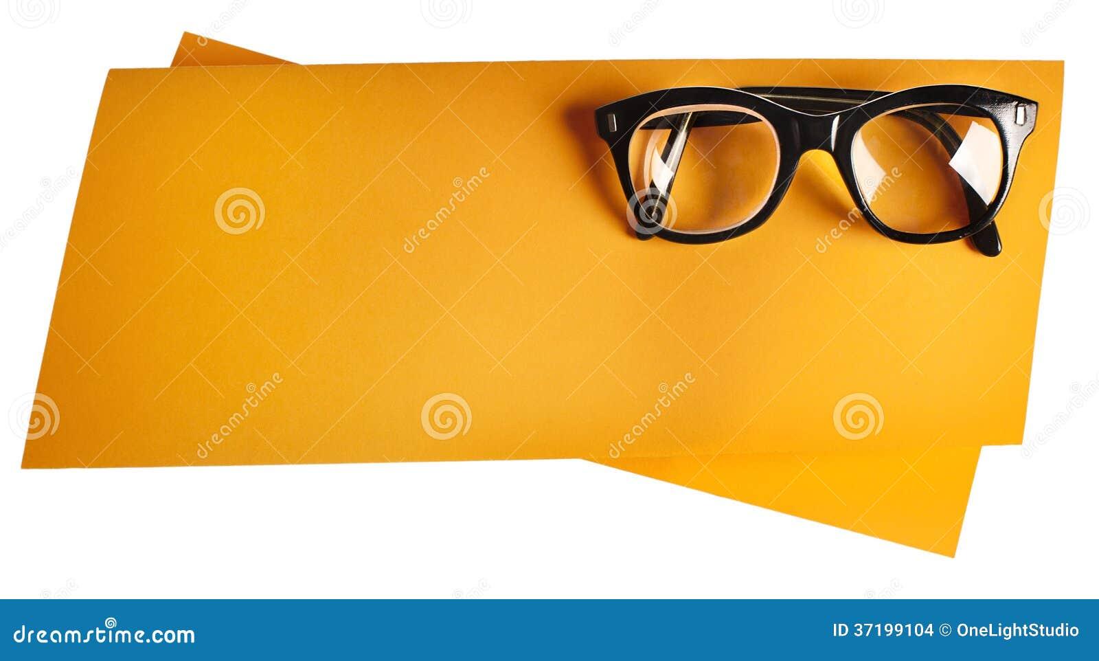 Retro- Brillen Mit Schwarzem Rahmen Auf Orange Kreativer ...