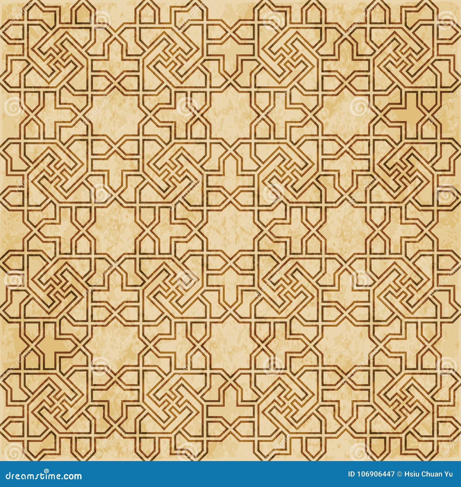 Retro brown islam geometrii wzoru bezszwowego tła wschodni stylowy ornament