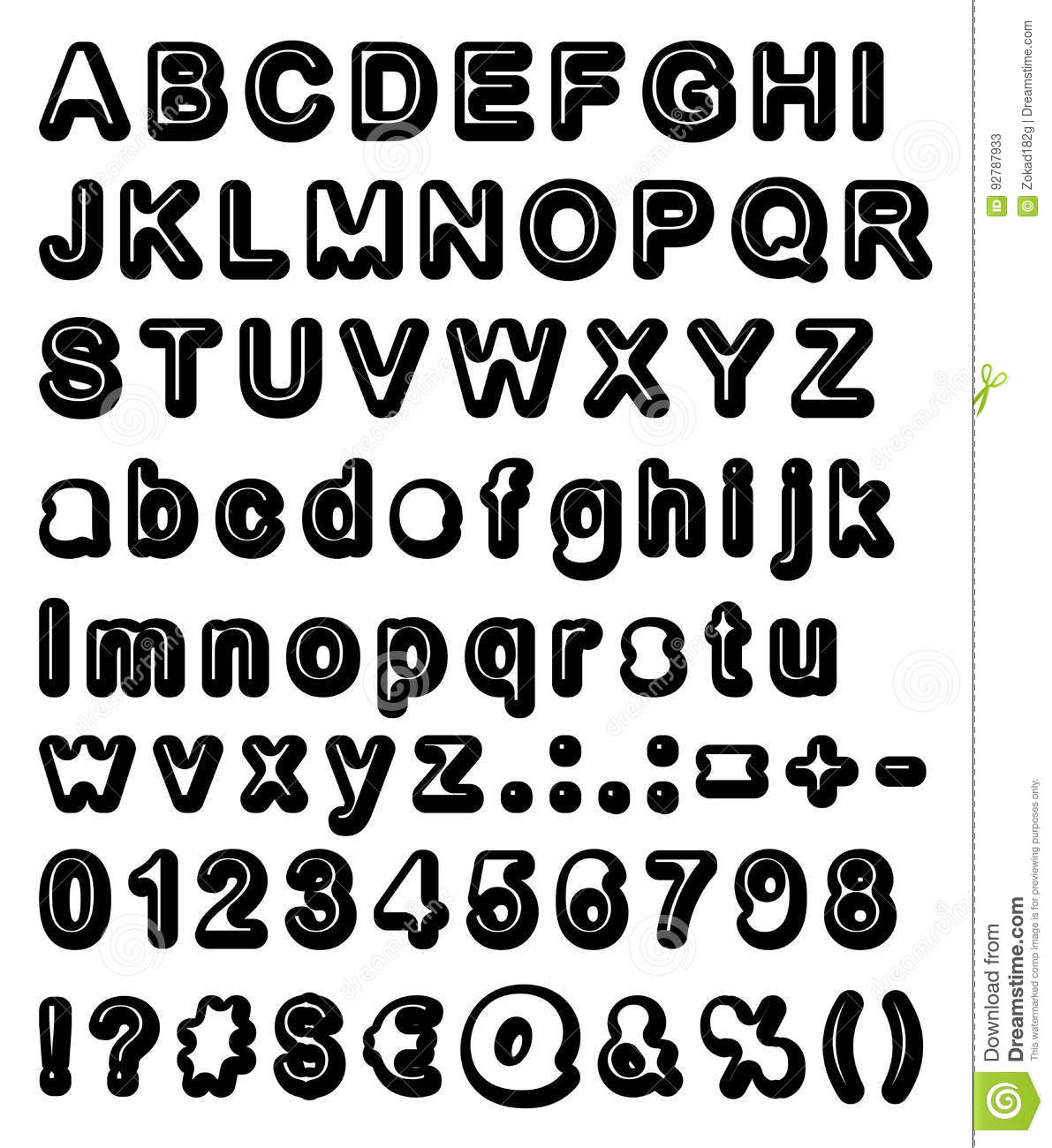 photograph relating to Printable Letters for Signs called Retro Bubble Font Huge Reduced Letters With Indications Figures