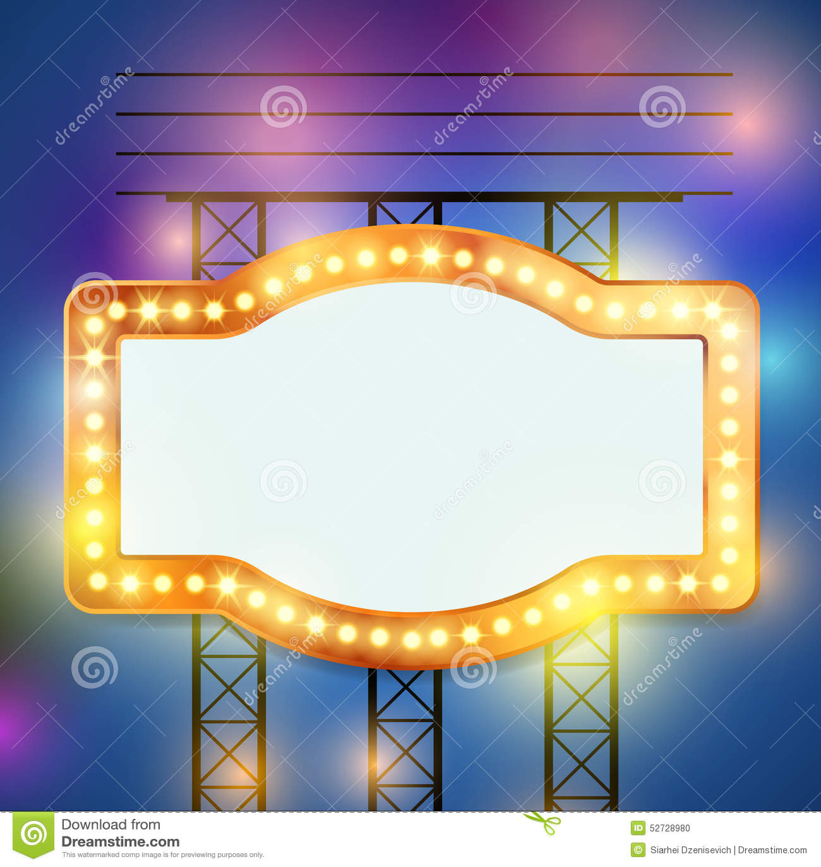 Retro Bulb Circus Cinema Light Sign Template Vector Illustration