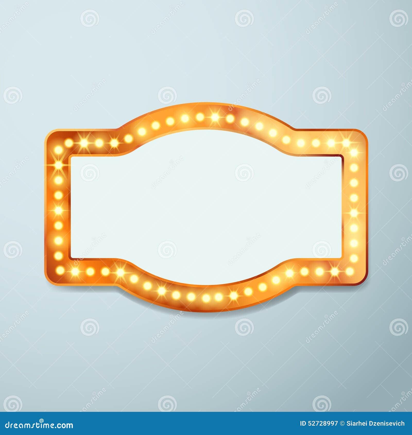 Retro Bulb Circus Cinema Light Sign Template Stock Vector