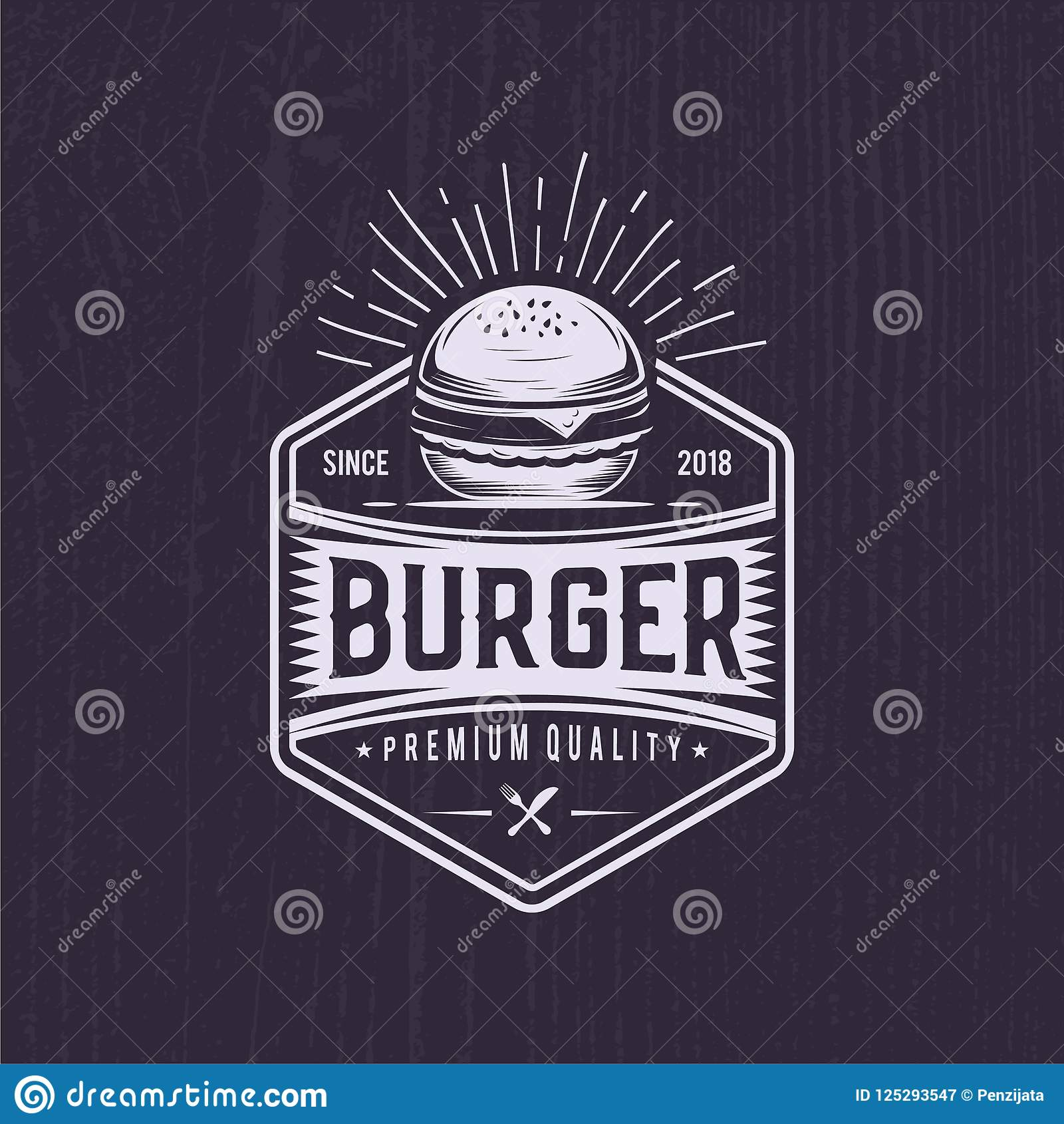 Retro Burger Joint Vintage Fast Food Illustration Logo Cheeseburger Design Stock Illustration Illustration Of Joint Print 125293547