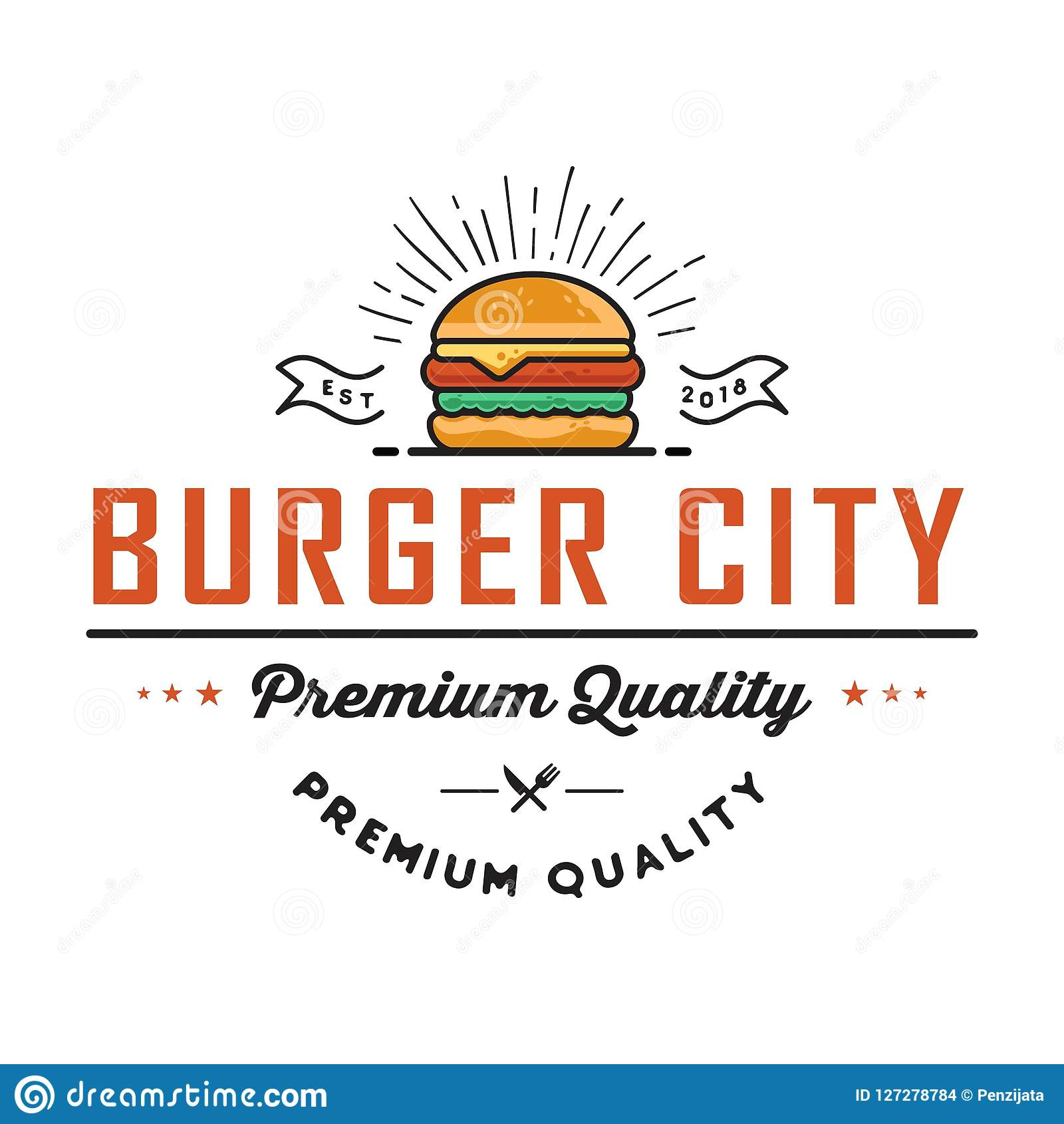 Retro Burger Joint Vintage Fast Food Illustration Logo Cheeseburger Design Stock Vector Illustration Of Emblem American 127278784
