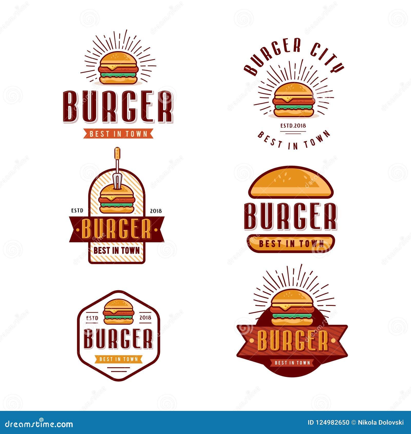 Retro Burger Vintage Logo Badge Design Stock Illustration