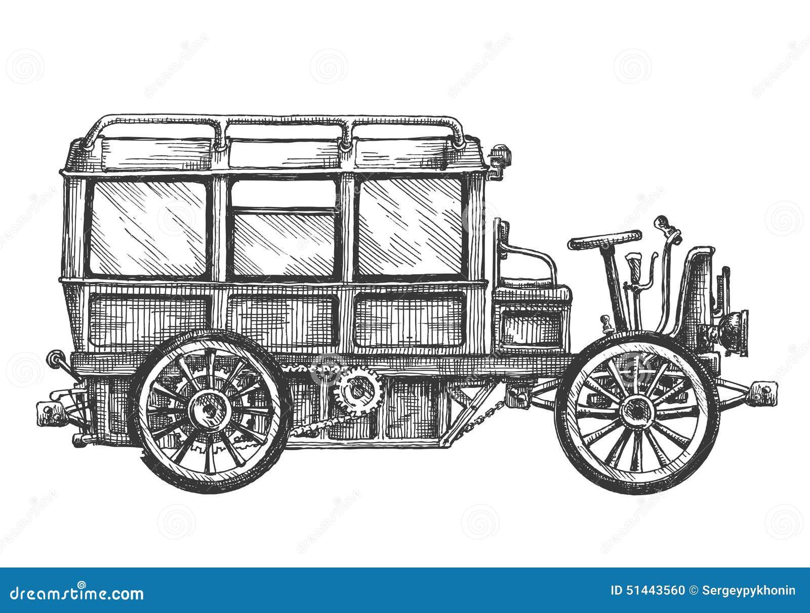 Retro- Bus, Auto, Auf Einem Weißen Hintergrund Skizze Stock ...
