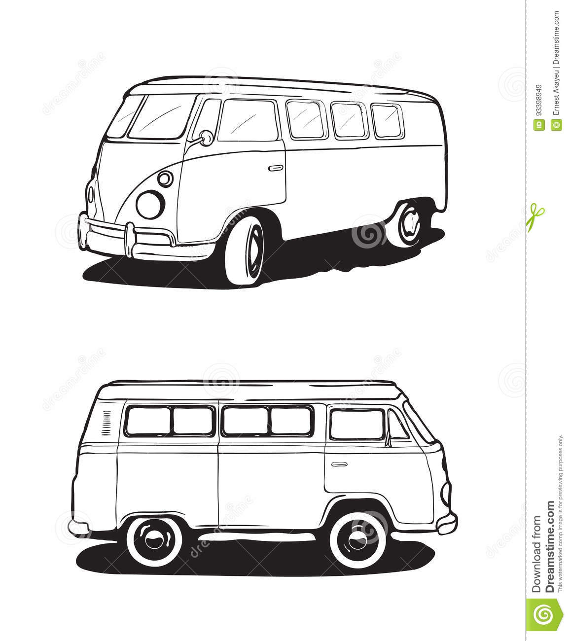 Retro Bus, Camping Car. View From Different Angles. Vector