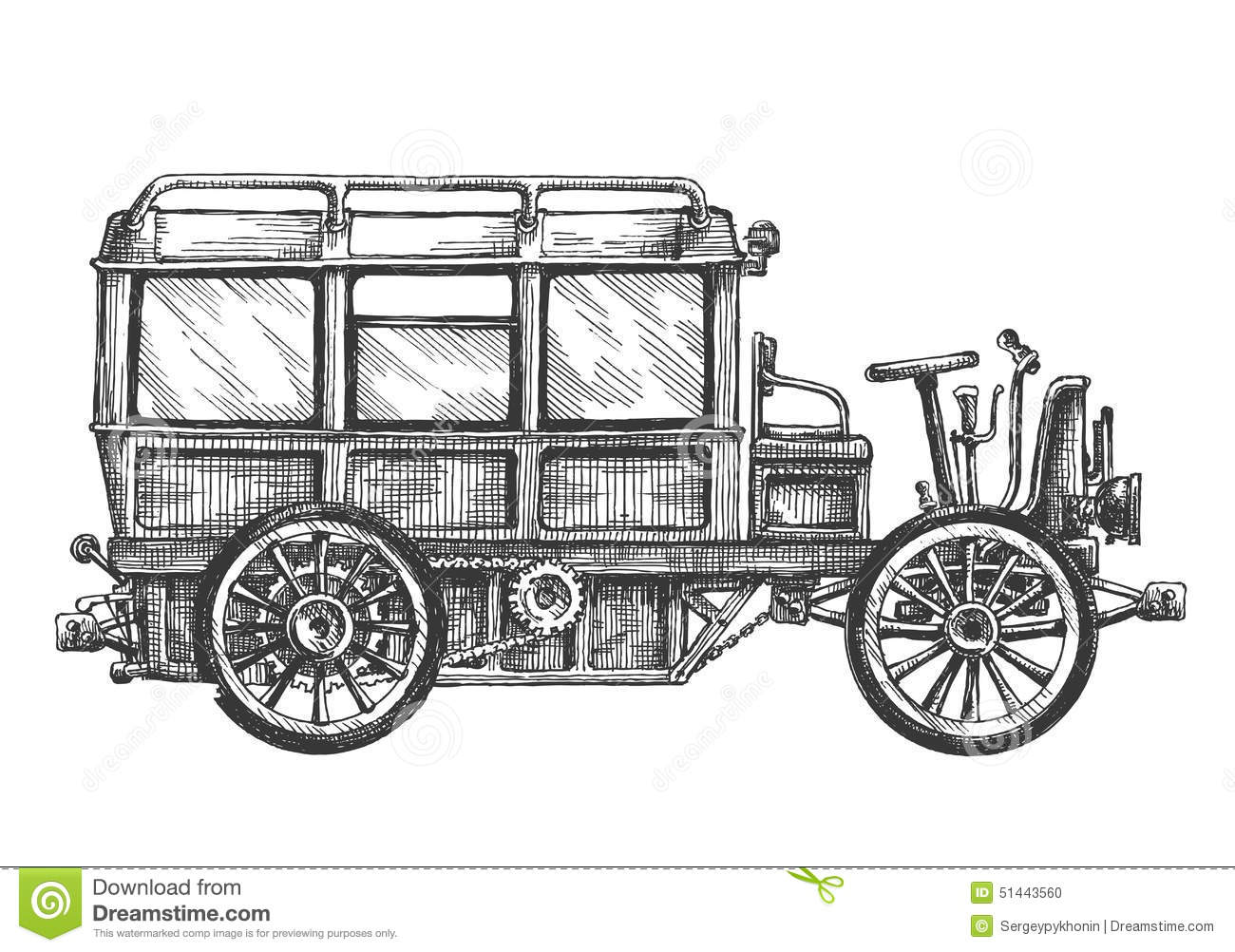 Retro Bus, Car, On A White Background. Sketch Stock