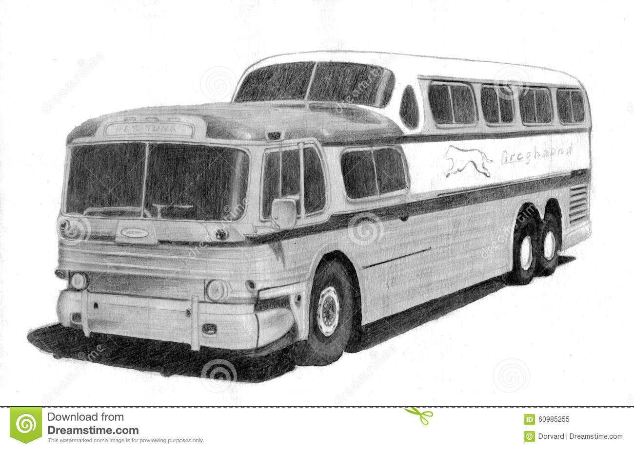 Retro bus pencil drawing stock illustration illustration of