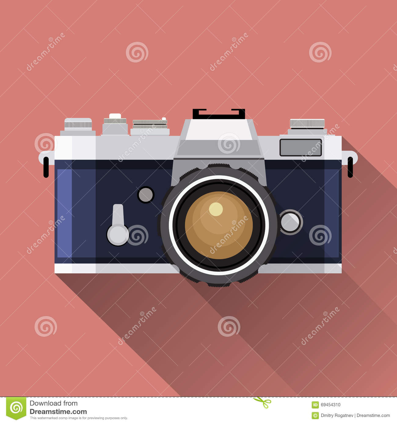 Retro camera flat icon vector illustration stock vector for Mobel vintage retro