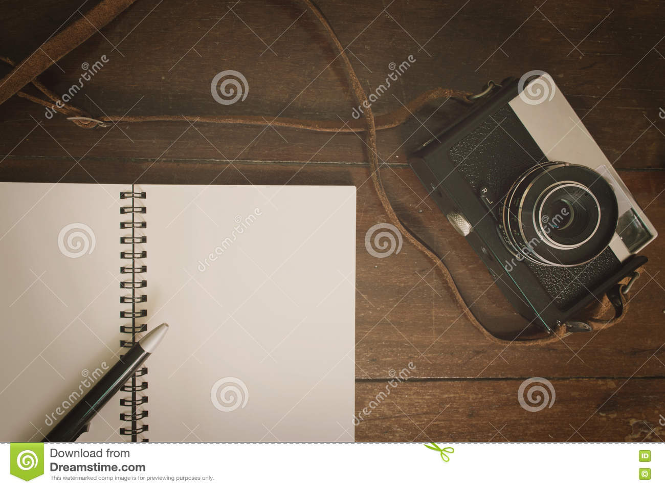 Retro Camera And Notepad On Wooden Background Stock Photo ...
