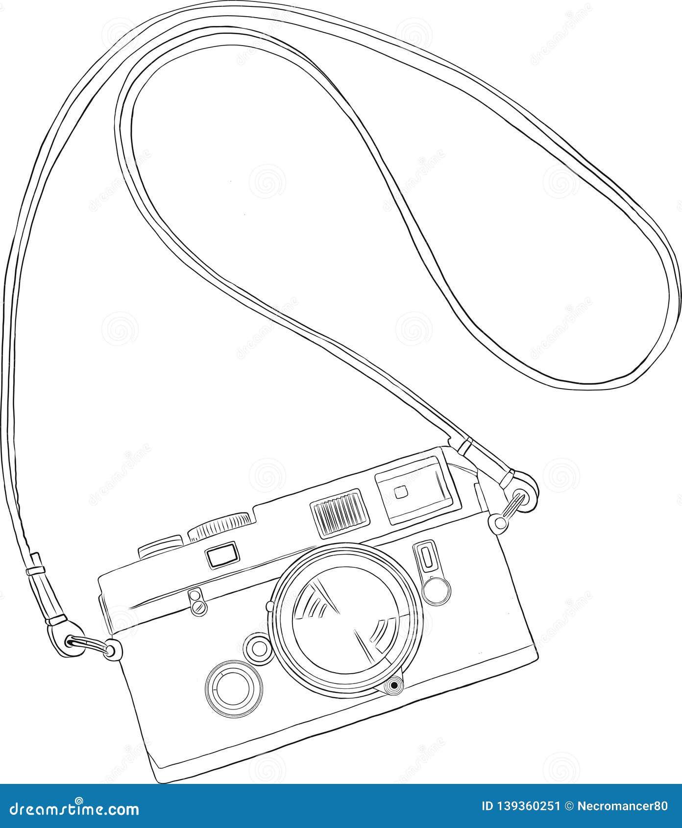 Retro camera in a sketch style.