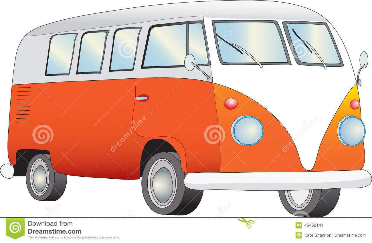 Retro Camper Van A Illustration Of An Orange And White Stock