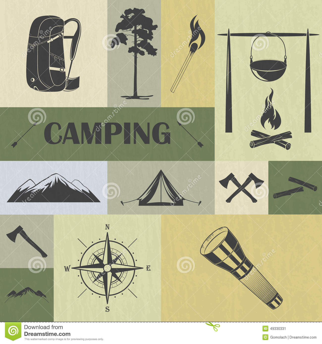 Retro Camping Icons Set