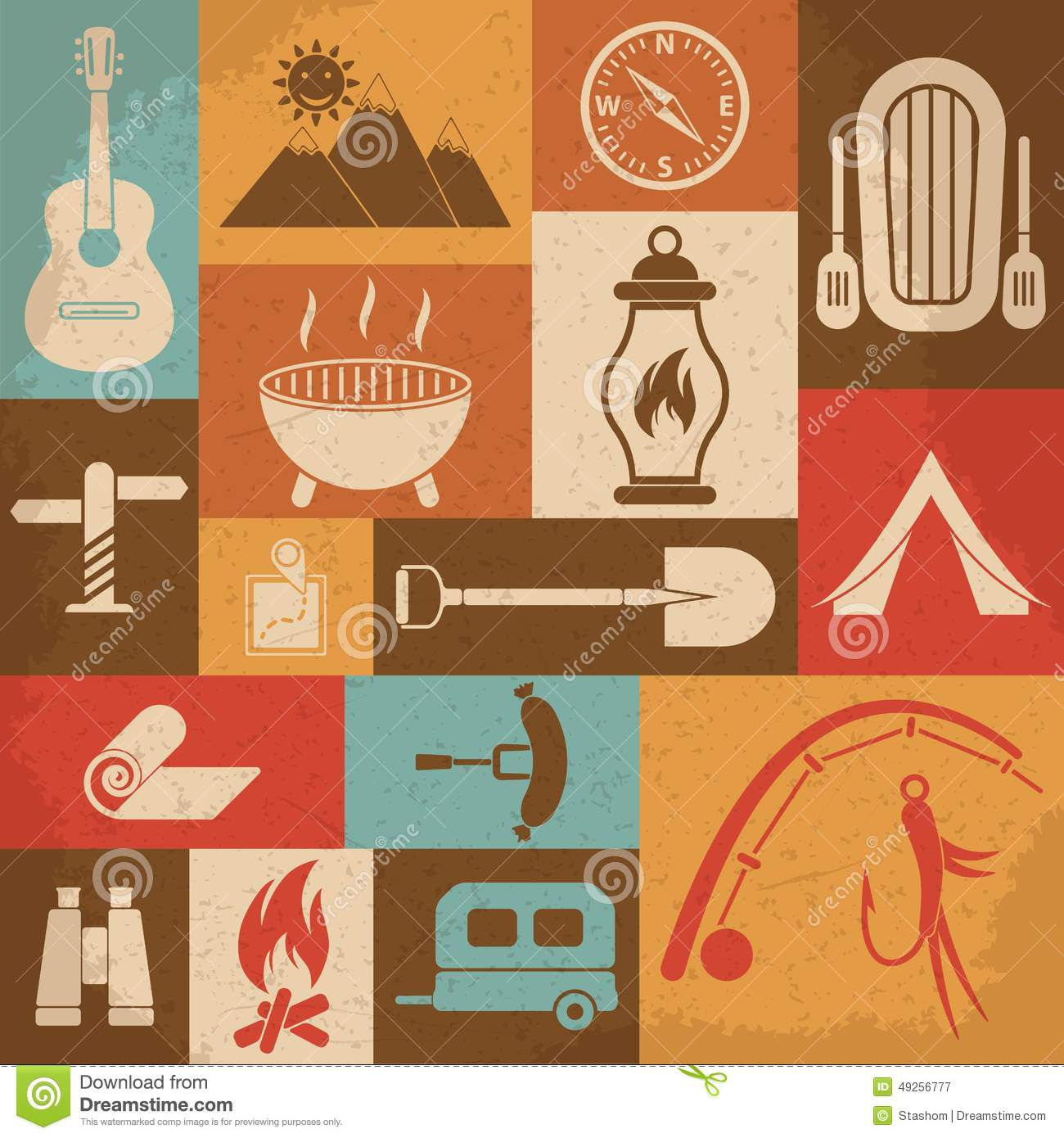Retro Camping Icons Set. Vector Icons Stock Vector - Image ...