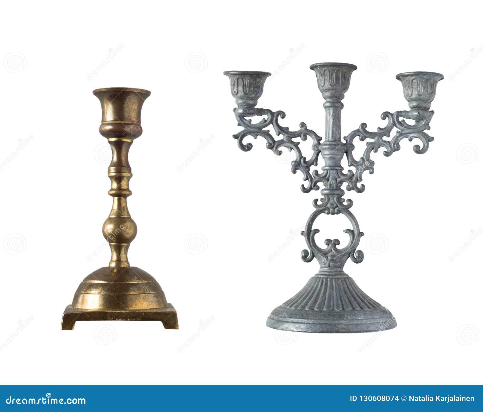 Retro candlesticks isolated on white background.