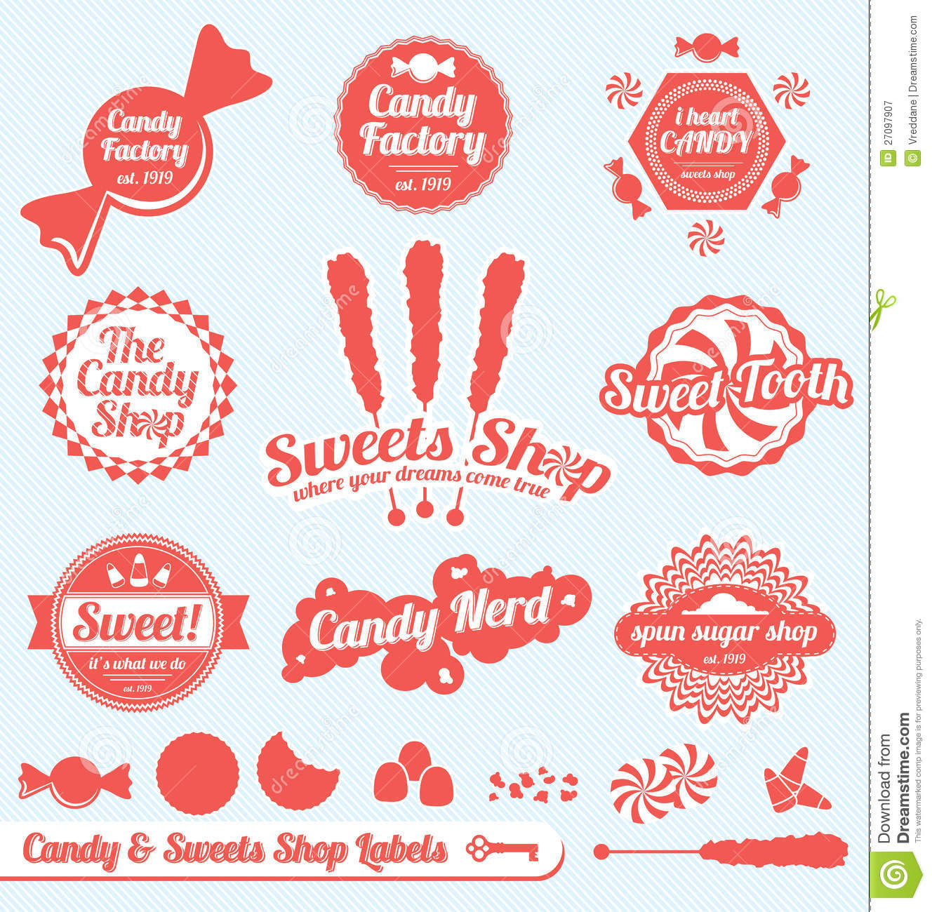 Retro Candy Shop Labels And Stickers Royalty Free Stock