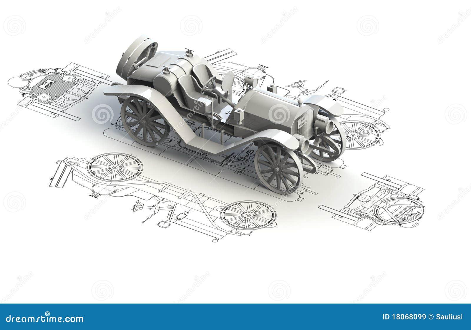 retro car charts with 3d model stock illustration. Black Bedroom Furniture Sets. Home Design Ideas