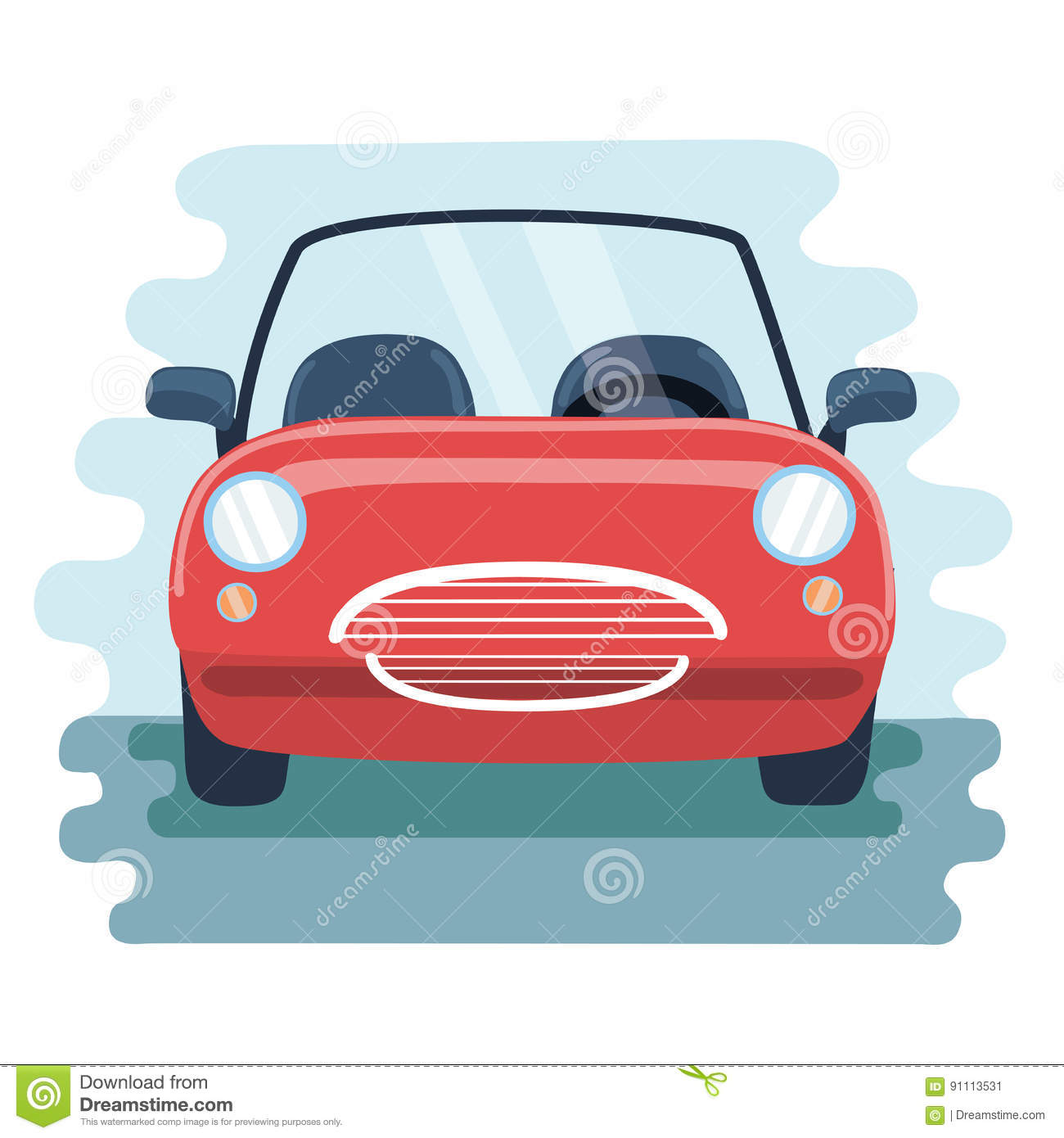 Retro Car In The Front View Vector Pic Stock Vector Illustration