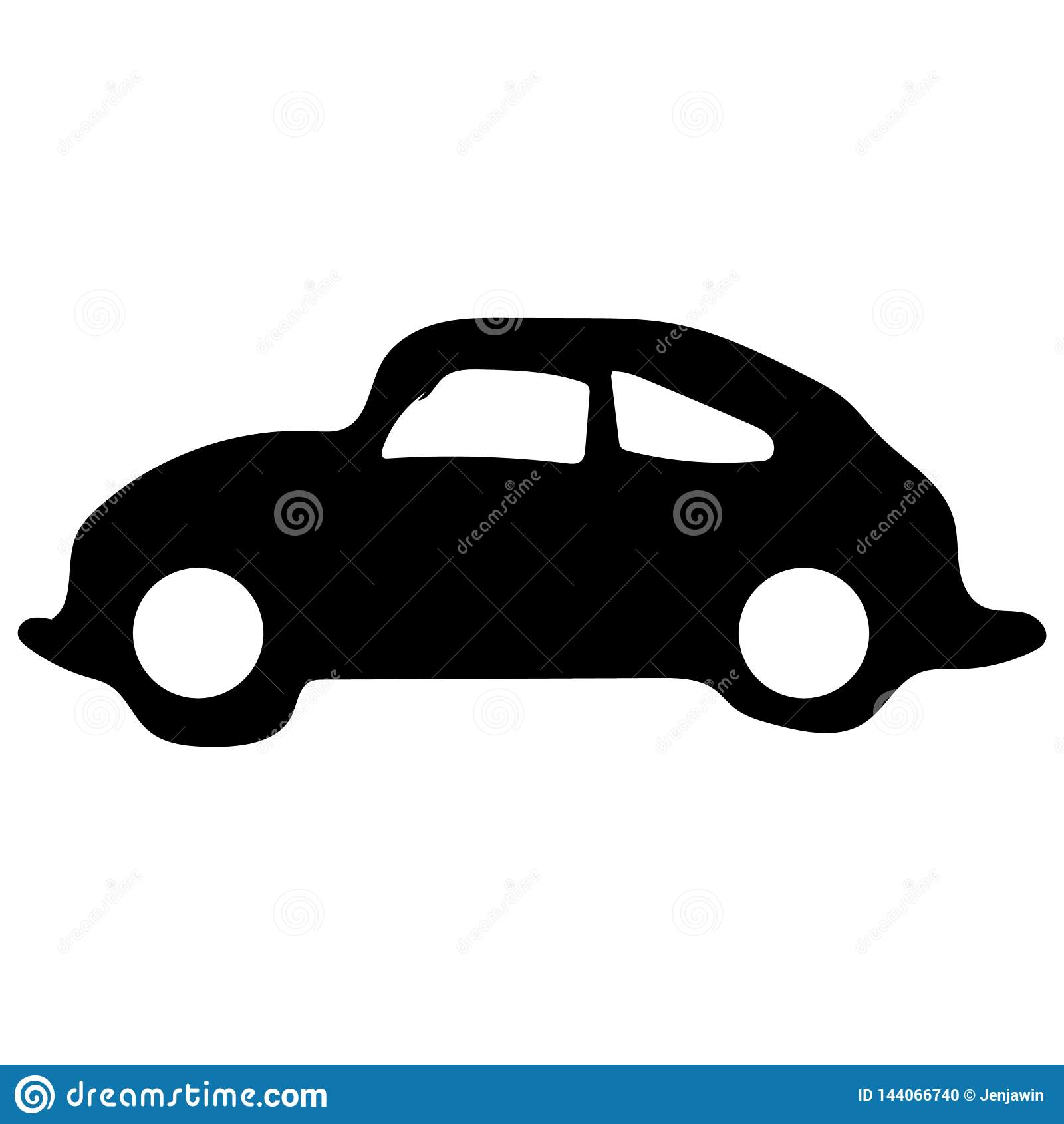 Retro car icon vector eps10. Old retro classic car black color sign