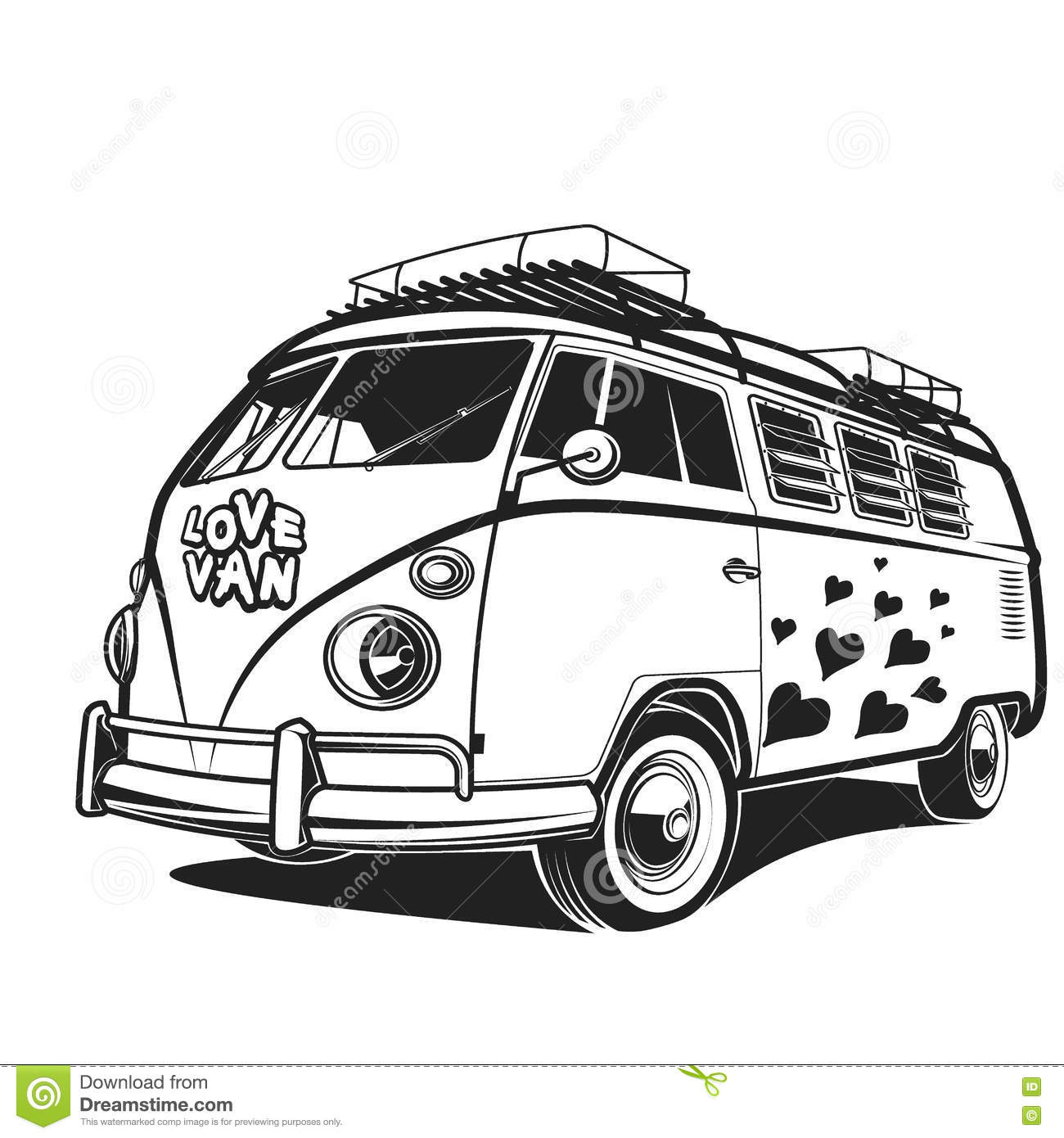 Retro Car Peace Love Travel Van Vector Illustration Stock Vector Image 74953853