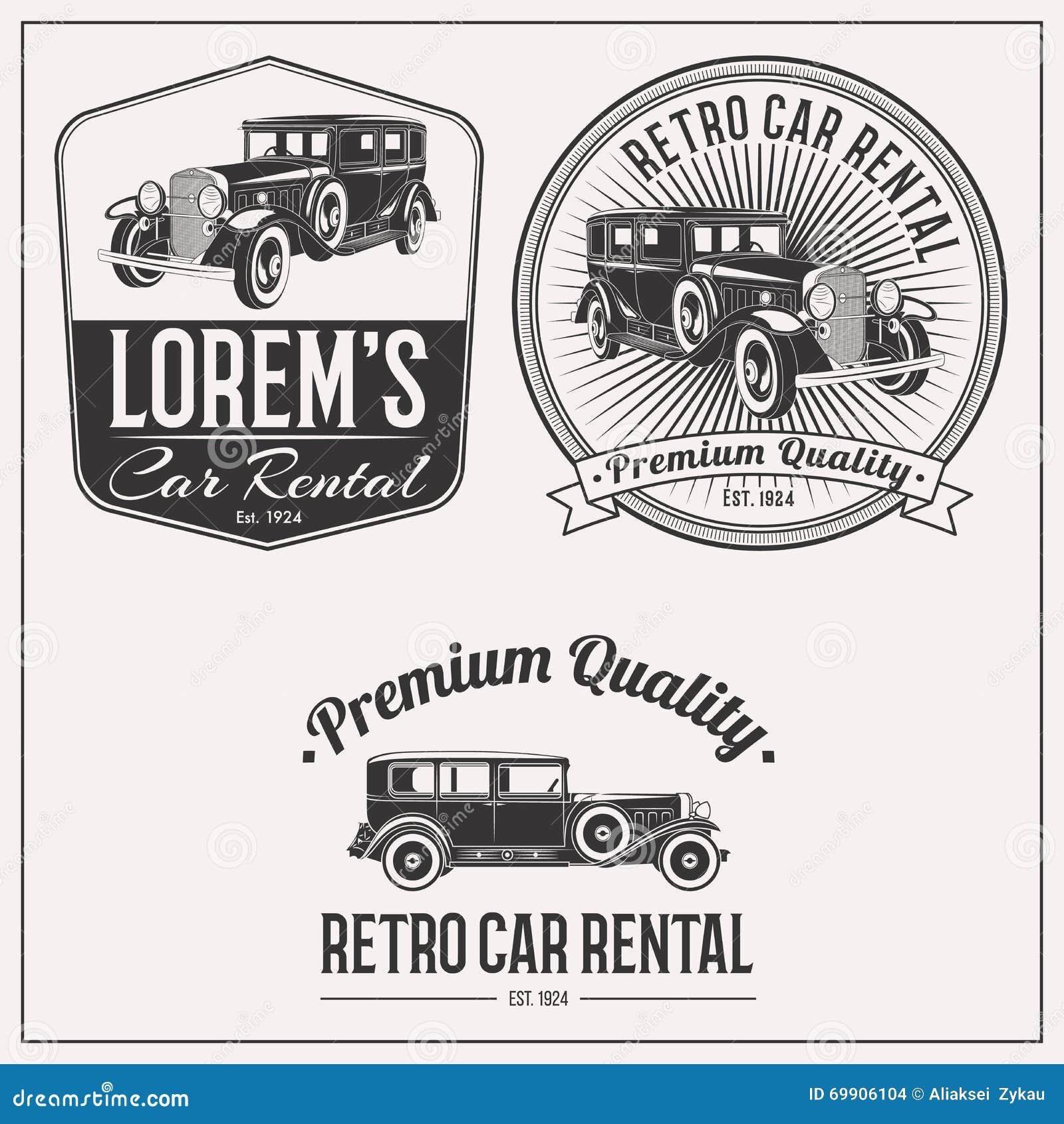 Retro car rental logo set stock vector image of rent for Car rental logo samples