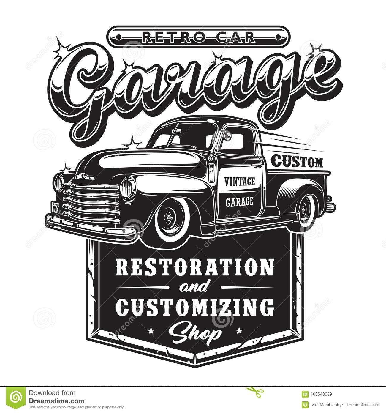 Car And Truck Shop >> Retro Car Repair Garage Sign With Retro Style Truck Stock