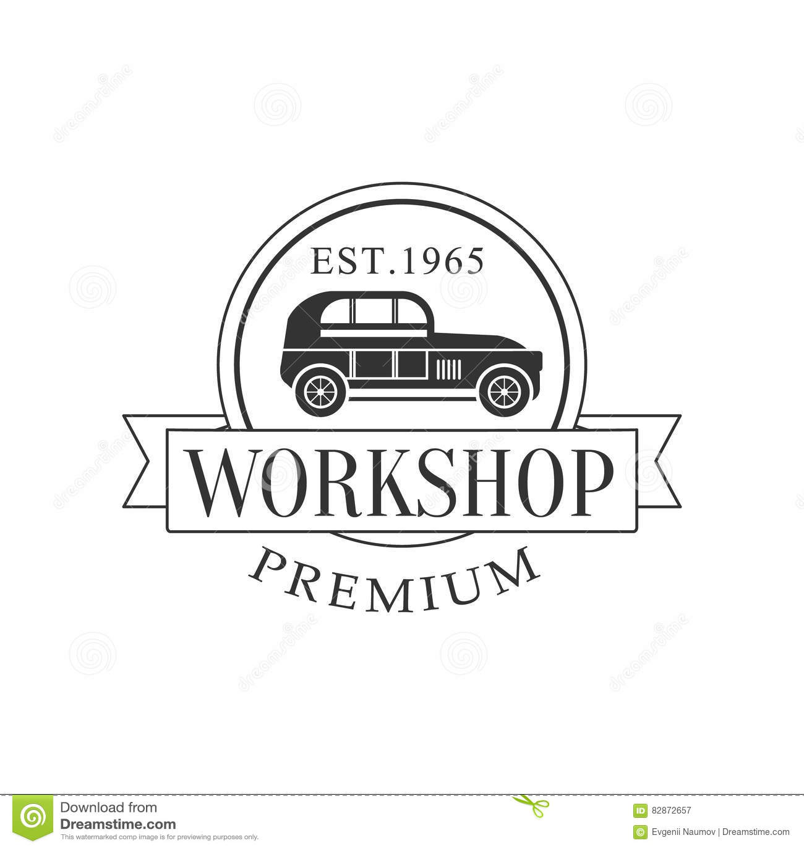 Design car repair workshop - Retro Car Repair Workshop Black And White Label Design Template With Round Frame And Ribbon Royalty