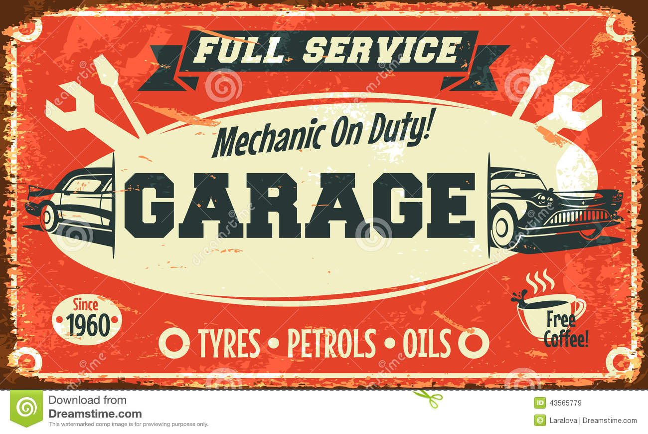 Retro car service sign stock vector image 43565779 for Franchise ad garage