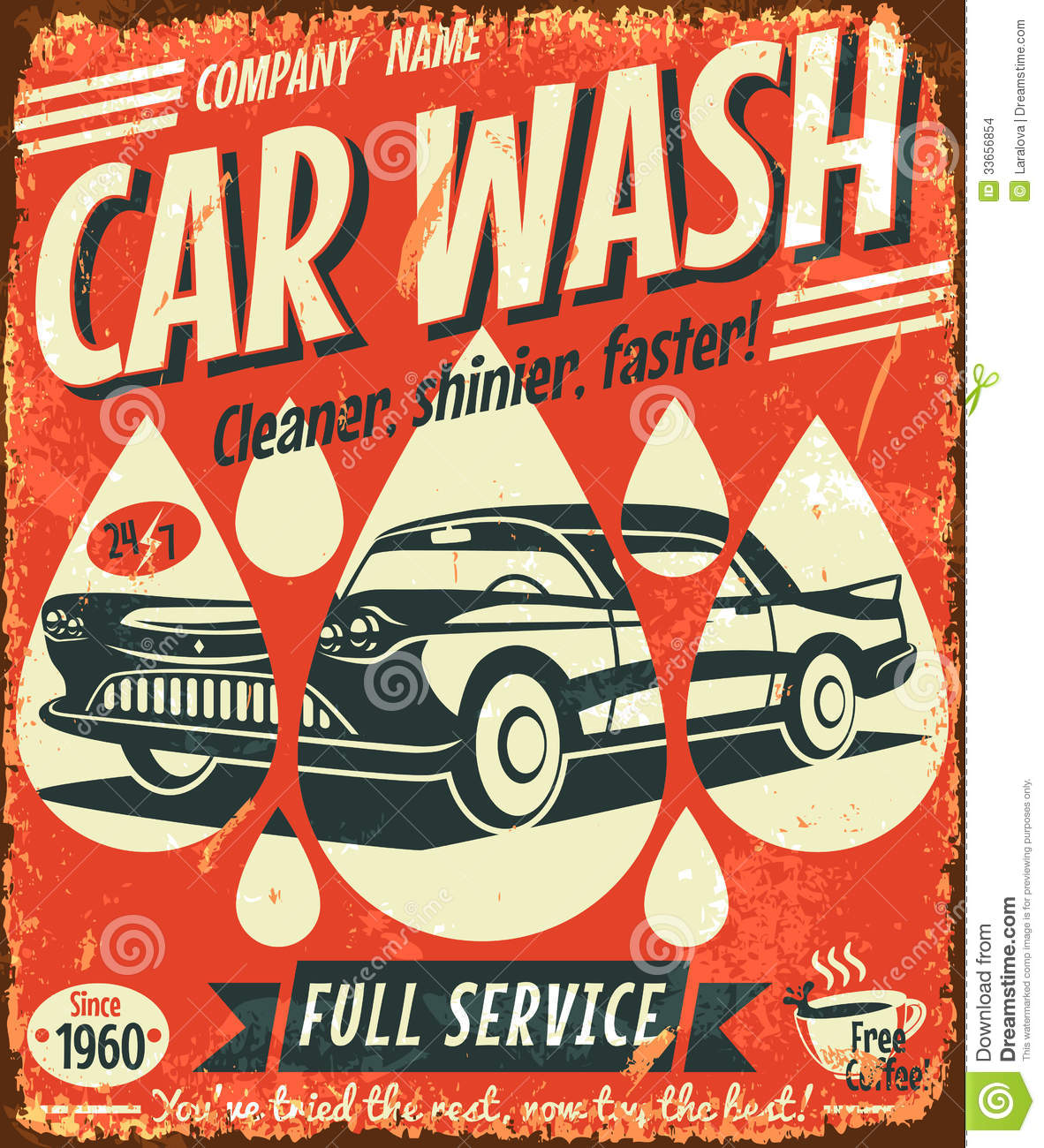 Retro Car Wash Sign Stock Vector Illustration Of Illustration
