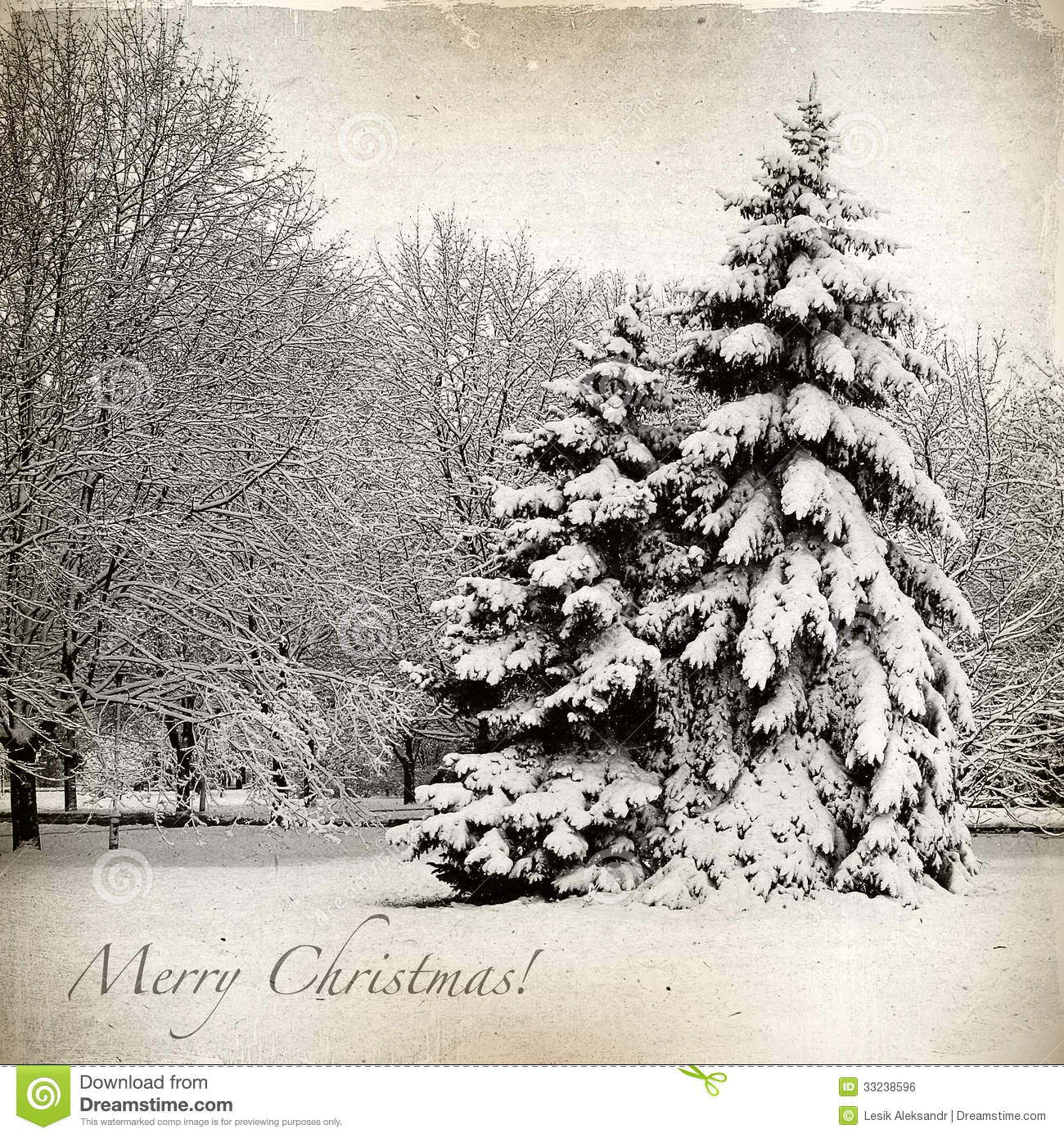 Retro card with christmas winter landscape stock for Christmas landscape images
