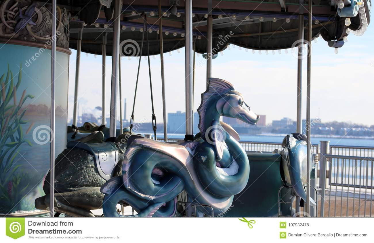 Retro Carousel Ride Old School Ride For Kids At Detroit Riverside ...