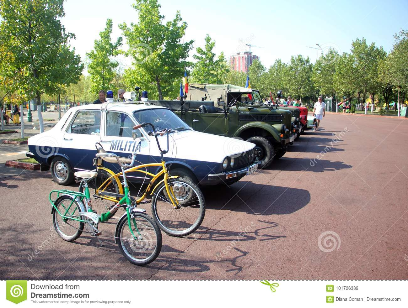 Retro Cars Old Dacia Police Car And Bikes Editorial Stock Image