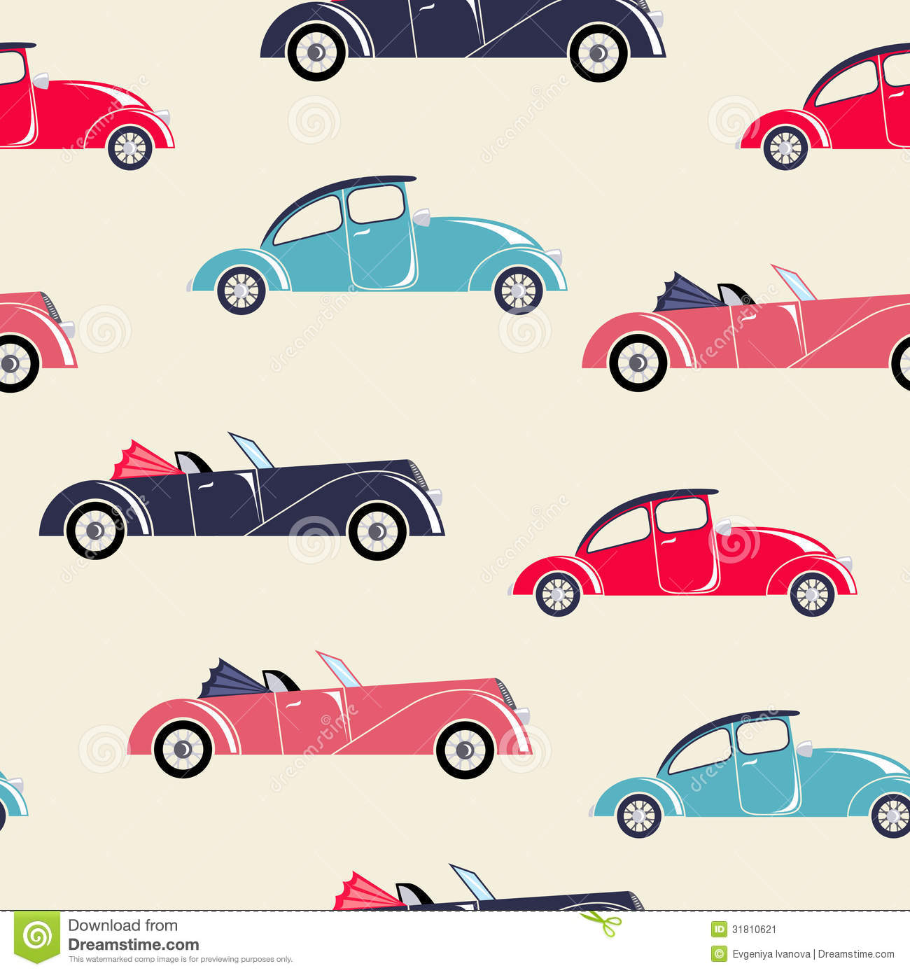 Retro cars seamless pattern