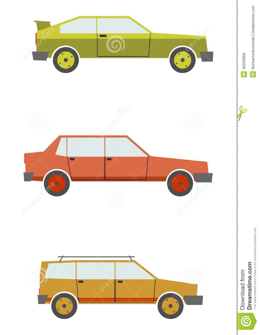 Set Of Cartoon Silhouettes Cars From The 80s Isolated On A White Background Vector