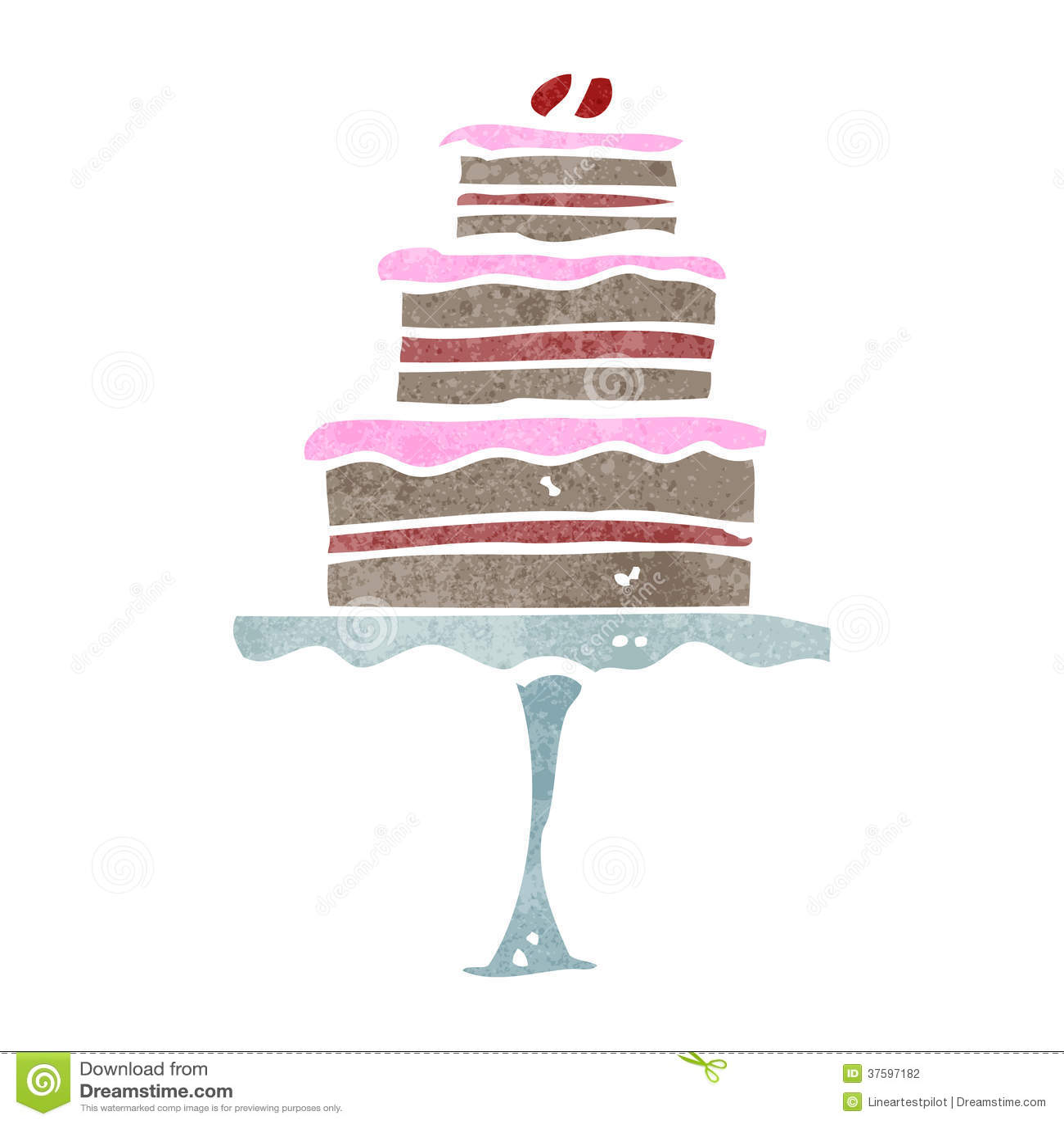 Retro Cartoon Cake On Stand Stock Illustration Image