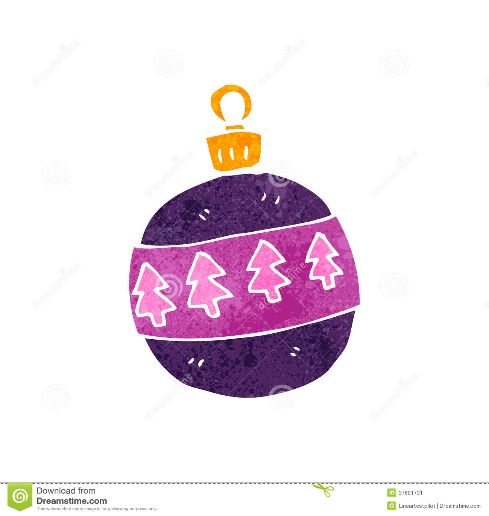 Retro Cartoon Christmas Bauble Stock Illustration