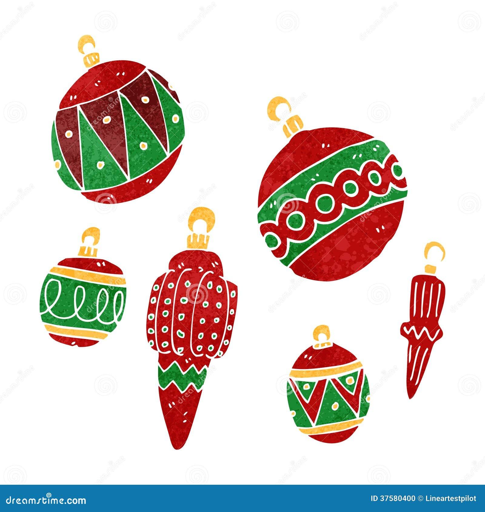 Retro Cartoon Christmas Baubles Stock Vector Illustration
