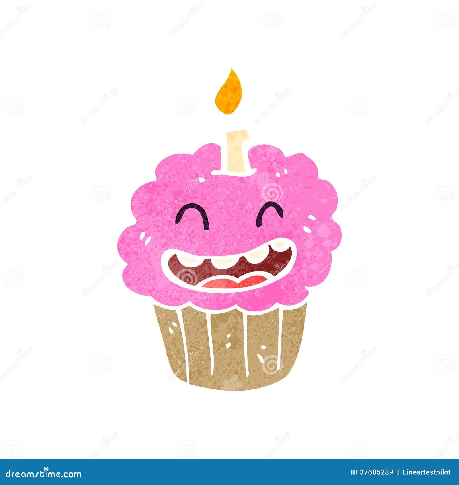 retro cartoon cupcake with face stock illustration illustration of