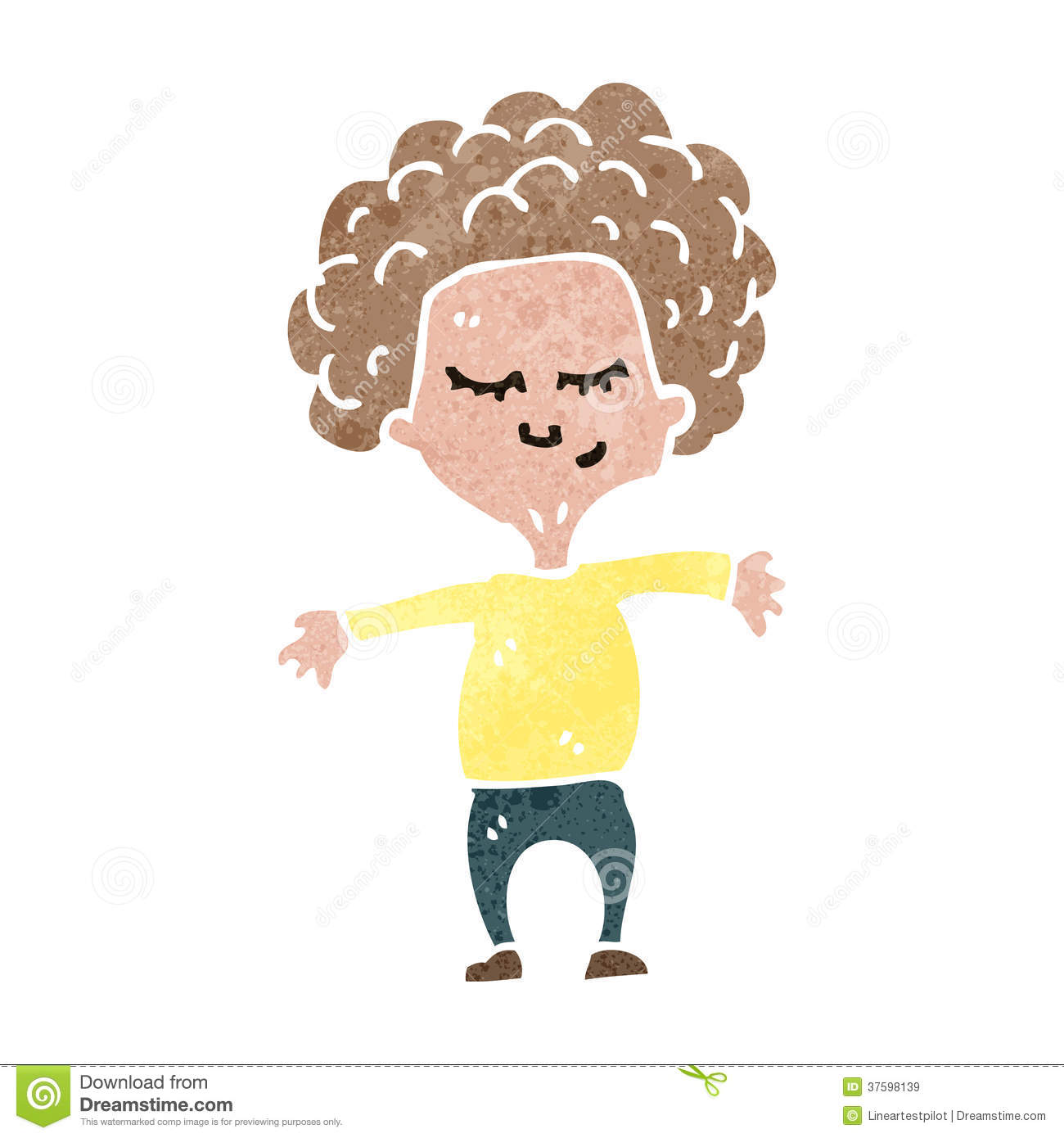 Cartoon Characters With Curly Hair : Retro cartoon curly haired boy stock vector image
