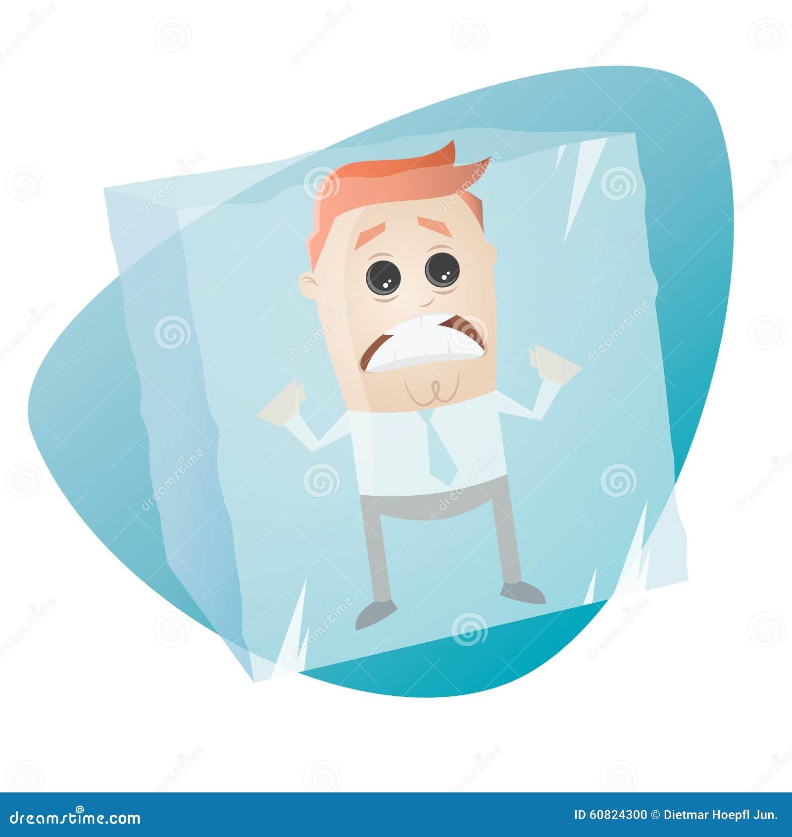 Retro cartoon man in ice cube stock vector image